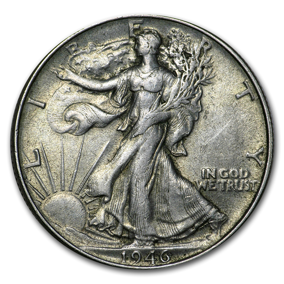 1946 Walking Liberty Half Dollar Double Die Rev XF