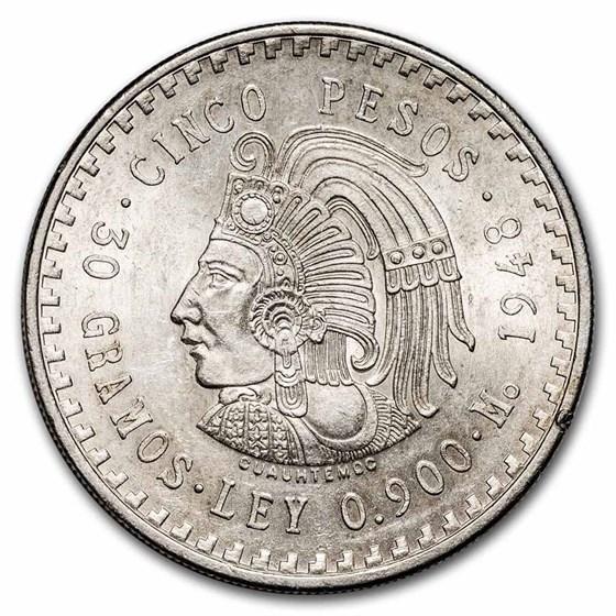 1947-1948 Mexico Silver 5 Pesos Cuauhtemoc AU
