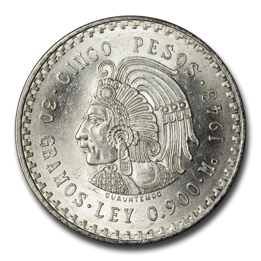 1947-1948 Mexico Silver 5 Pesos Cuauhtemoc BU