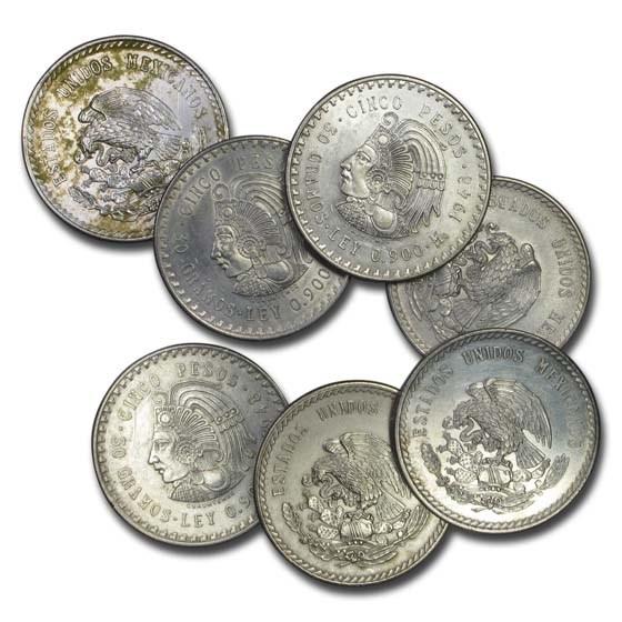 1947-1948 Mexico Silver 5 Pesos Cuauhtemoc Cull (ASW .8681 oz)