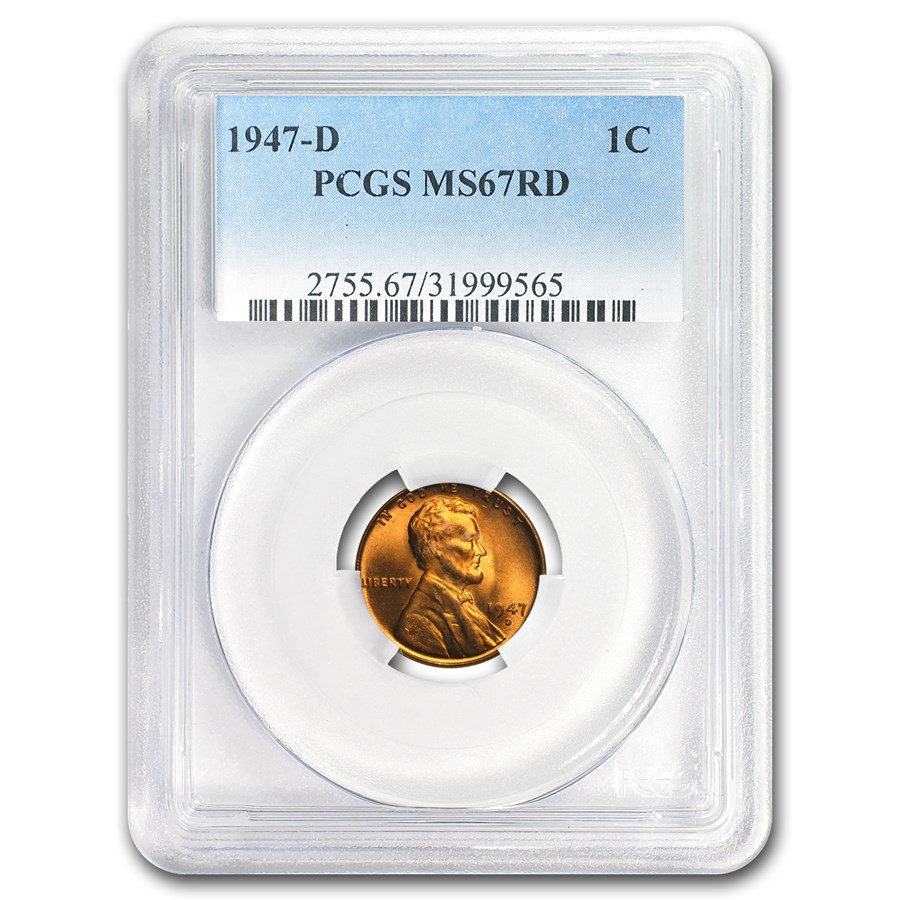 1947-D Lincoln Cent MS-67 PCGS (Red)
