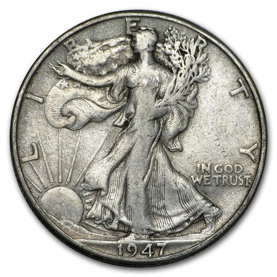 1947-D Walking Liberty Half Dollar Fine/VF