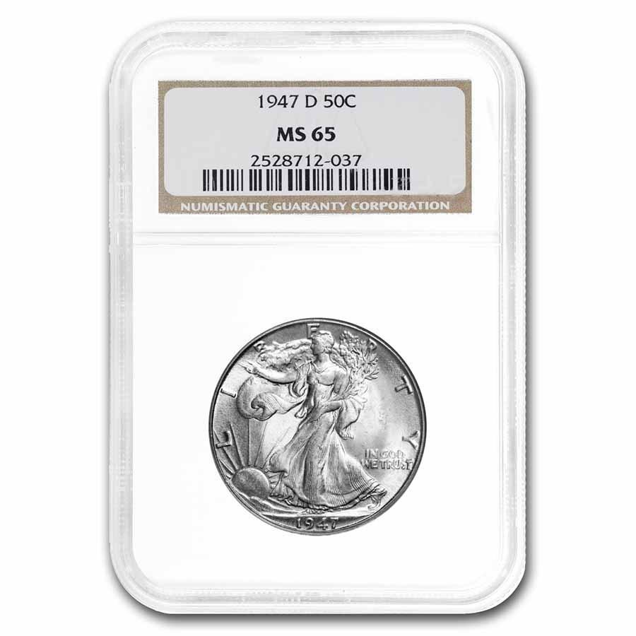 1947-D Walking Liberty Half Dollar Mint State-65 NGC