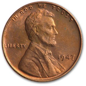 1947 Lincoln Cent BU (Red)