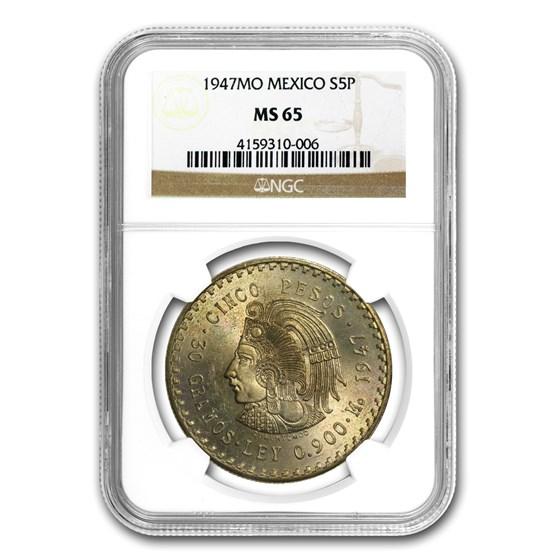 1947 Mexico Silver 5 Pesos Cuauhtemocs MS-65 NGC
