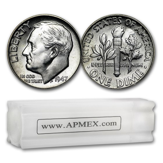 1947 Roosevelt Dime 50-Coin Roll BU
