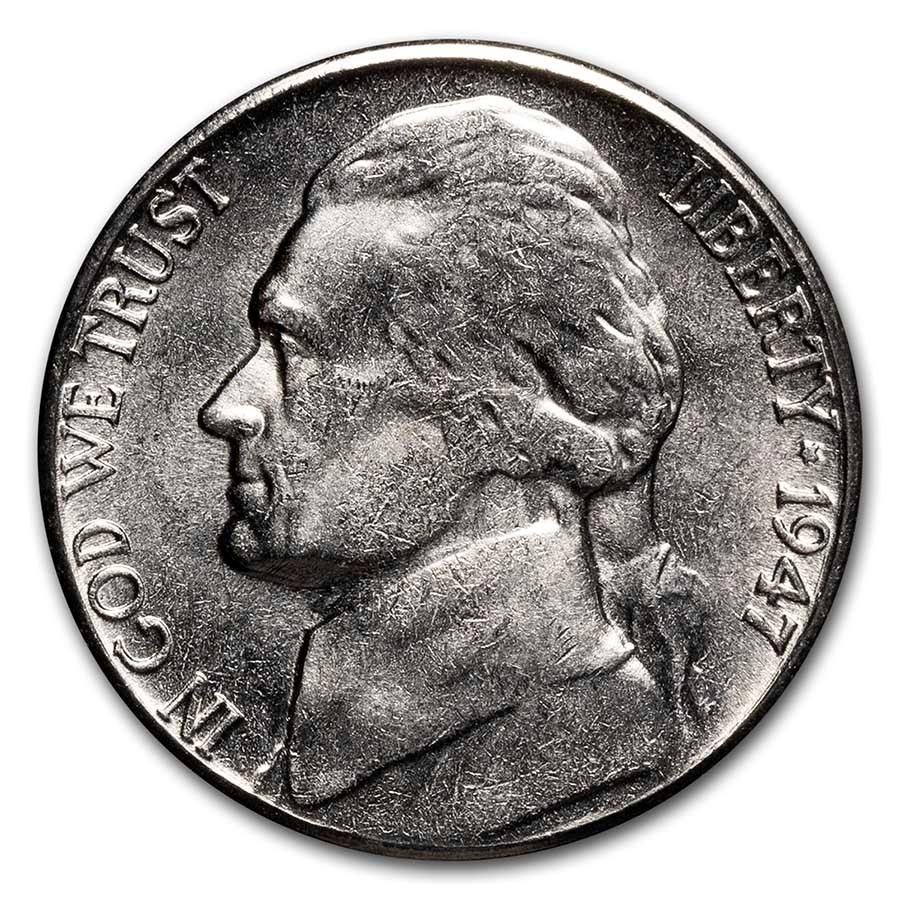 1947-S Jefferson Nickel AU