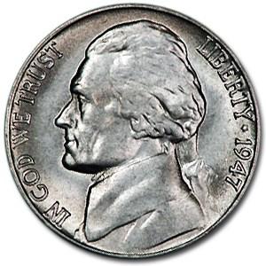 1947-S Jefferson Nickel BU