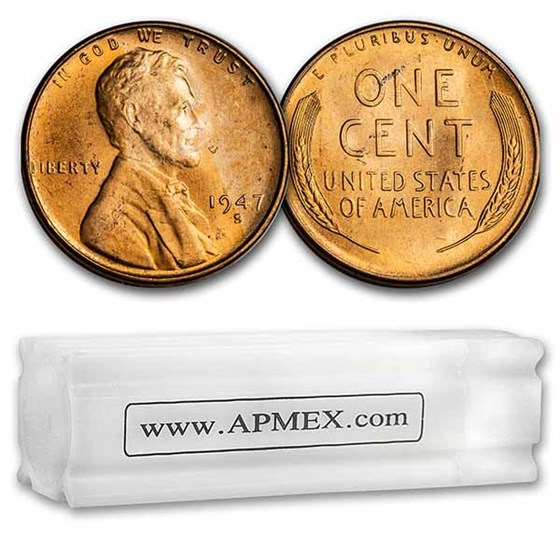 1947-S Lincoln Cent 50-Coin Roll BU