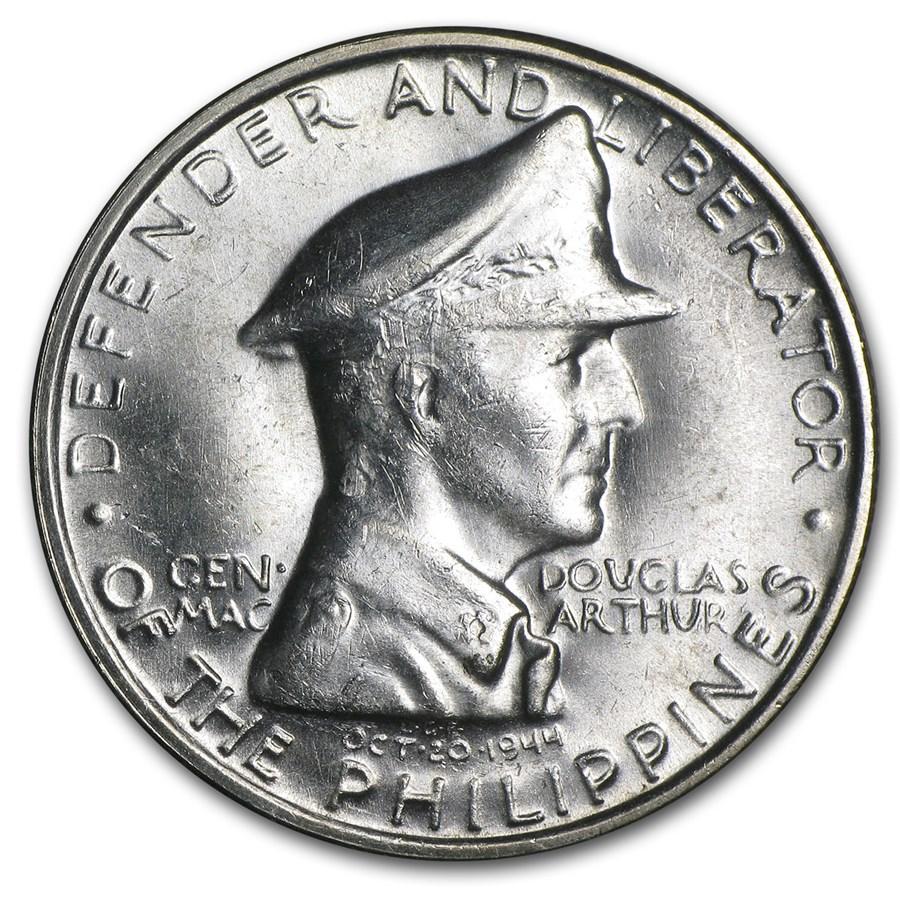 1947-S Philippines Silver Peso Gen Douglas MacArthur BU