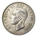 1948-1952 Canada Silver 50 Cents George VI Avg Circ