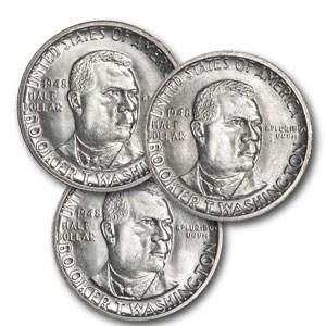 1948 Booker T. Washington P,D & S Half 3-Coin Set MS-64