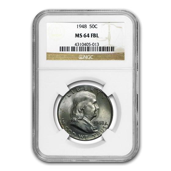 1948 Franklin Half Dollar MS-64 NGC (FBL)