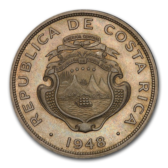 1948-(L) Costa Rica Copper-Nickel 2 Colones PR-65 PCGS