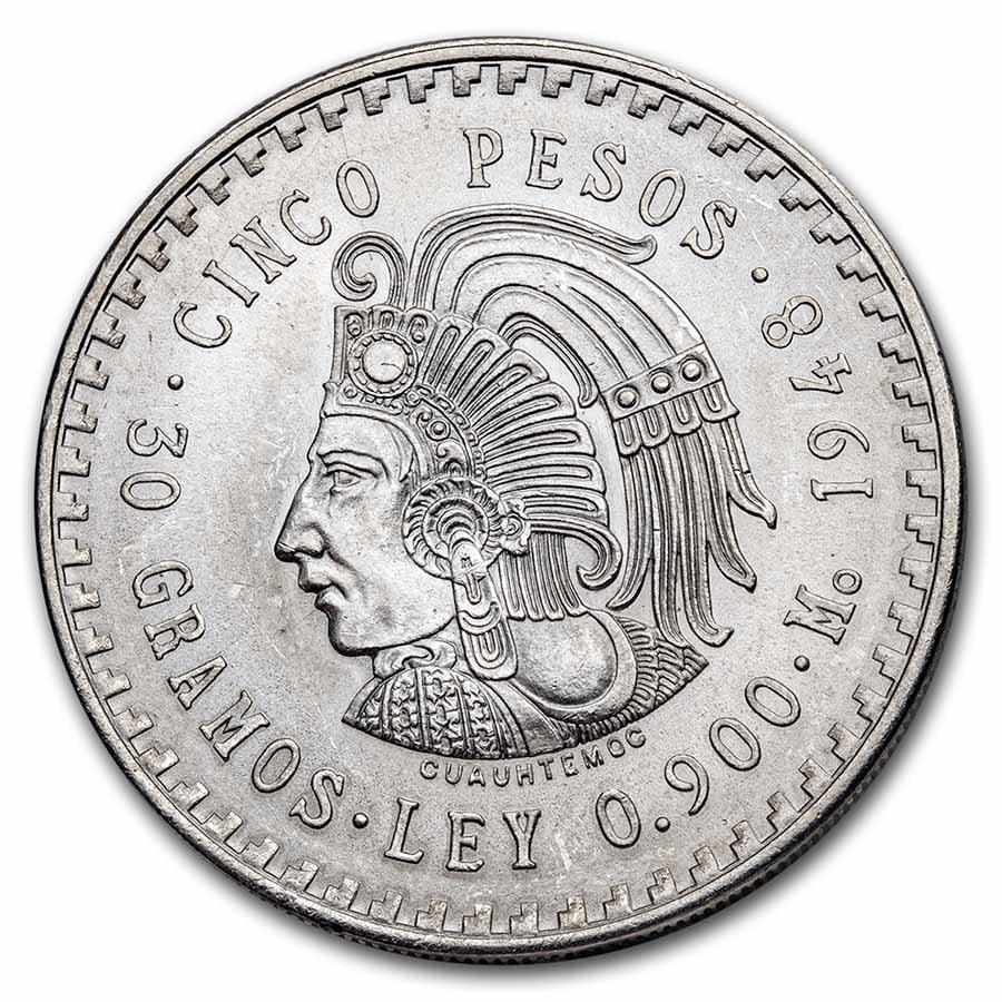 1948 Mexico Silver 5 Pesos Cuauhtemoc BU