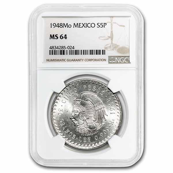 1948 Mexico Silver 5 Pesos Cuauhtemoc MS-64 NGC