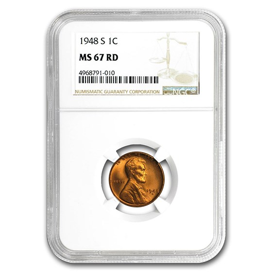 1948-S Lincoln Cent MS-67 NGC (Red)