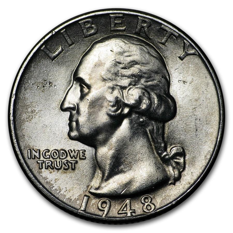 1948 Washington Quarter BU