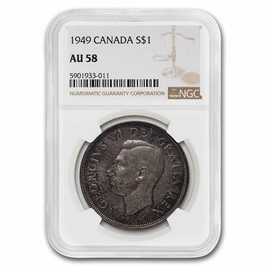 1949 Canada Silver Dollar George VI AU-58 NGC