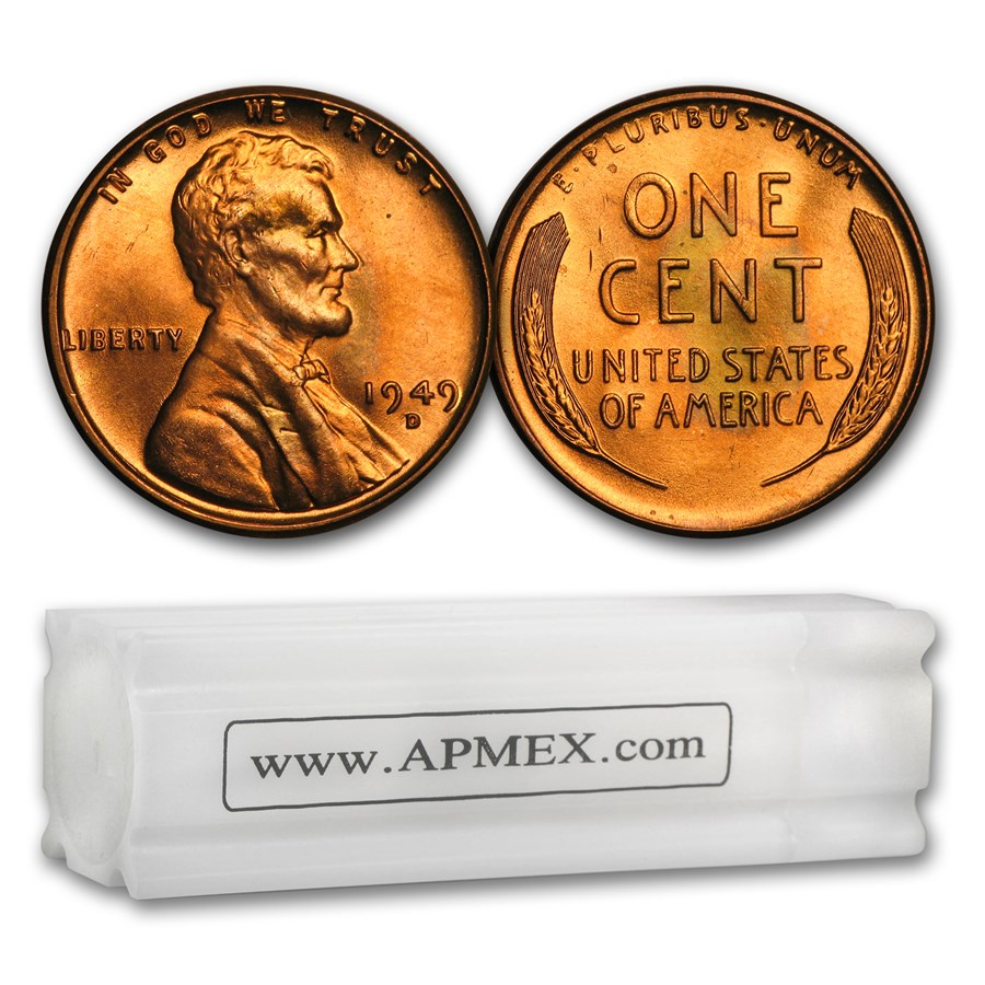 1949-D Lincoln Cent 50-Coin Roll BU