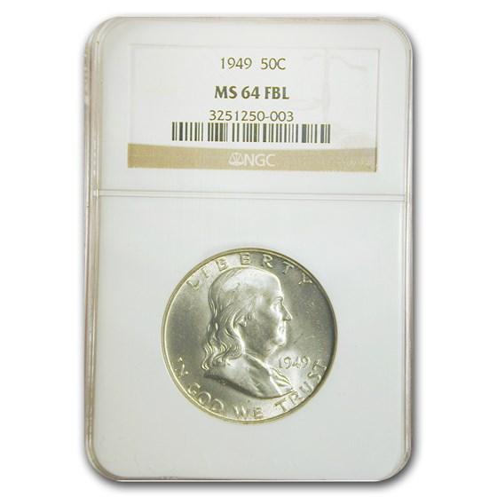 1949 Franklin Half Dollar MS-64 NGC (FBL)