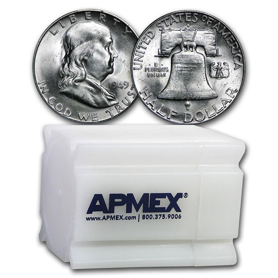 1949-S Franklin Half Dollar 20-Coin Roll BU
