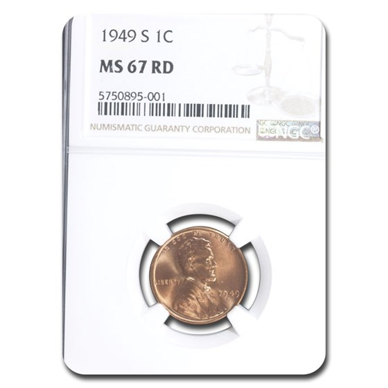 1949-S Lincoln Cent MS-67 NGC (Red)