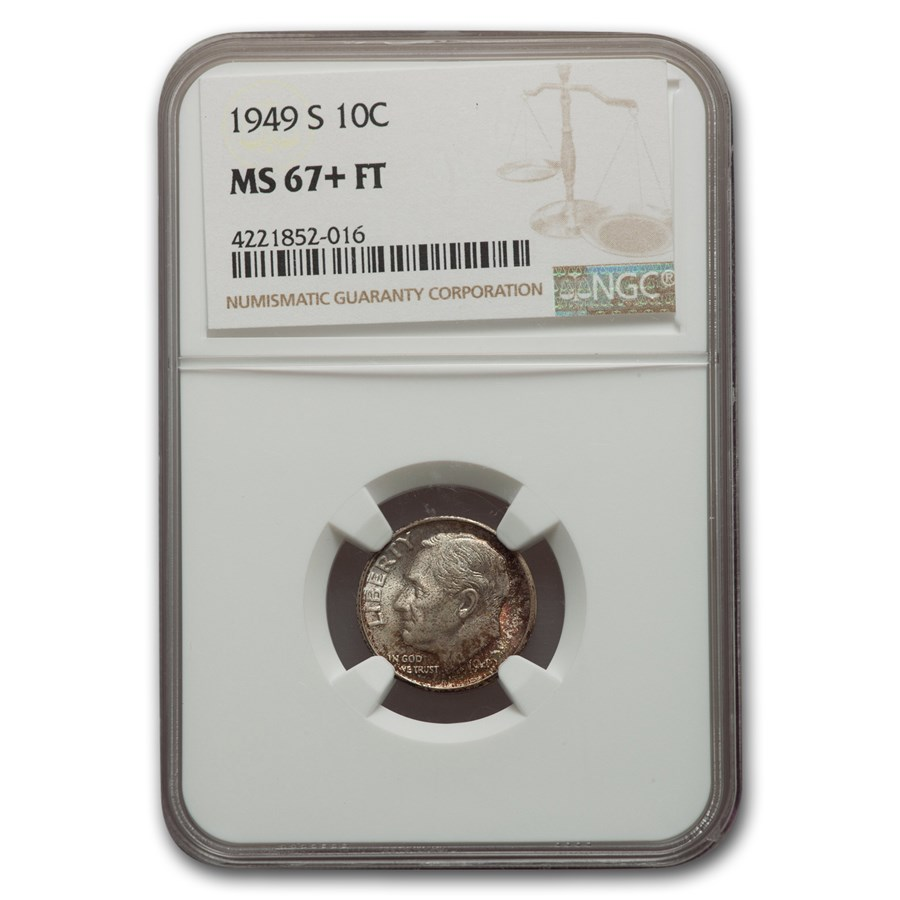 1949-S Roosevelt Dime MS-67+ NGC (FT)