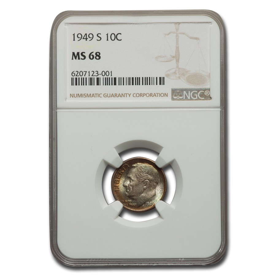 1949-S Roosevelt Dime MS-68 NGC