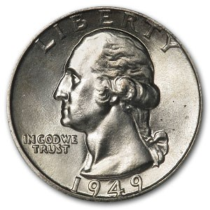 1949 Washington Quarter MS-65