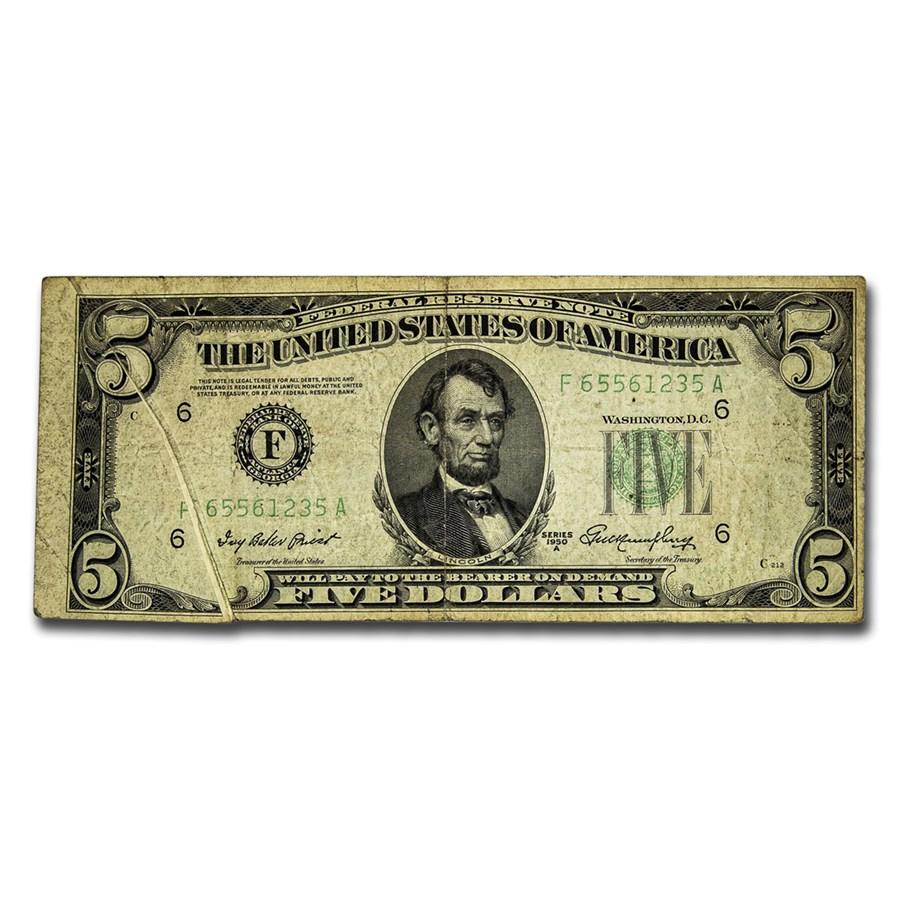 1950-A (F-Atlanta) $5 FRN VF (Gutter Fold Error)