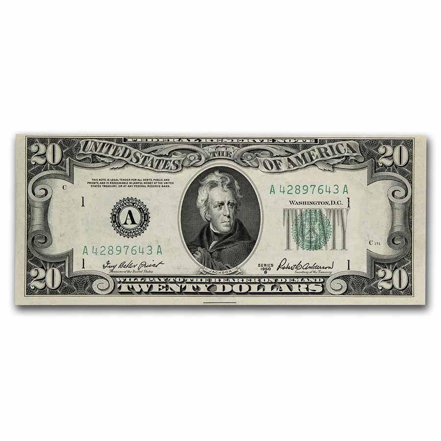 1950-B (A-Boston) $20 FRN CU (Fr#2061-A)