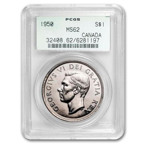 1950 Canada Silver Dollar George VI MS-62 PCGS