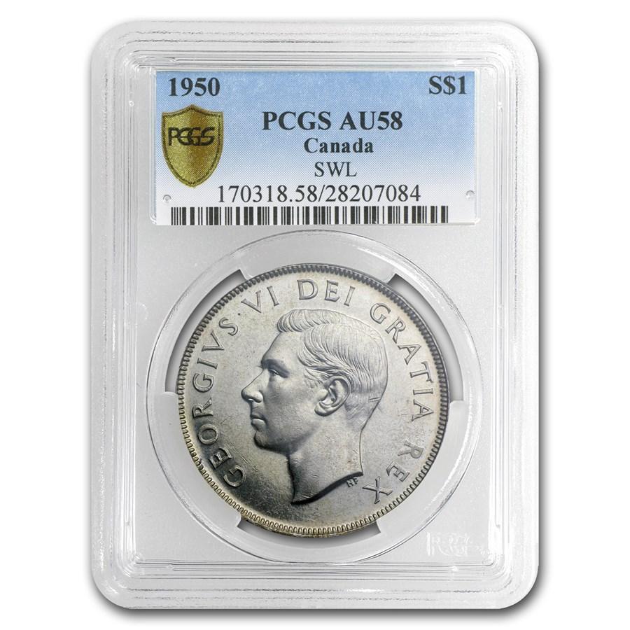1950 Canada Silver Dollar Short Water Lines AU-58 PCGS