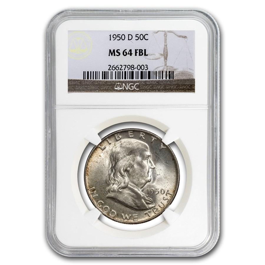 1950-D Franklin Half Dollar MS-64 NGC (FBL)