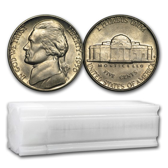 1950-D Jefferson Nickel 40-Coin Roll BU