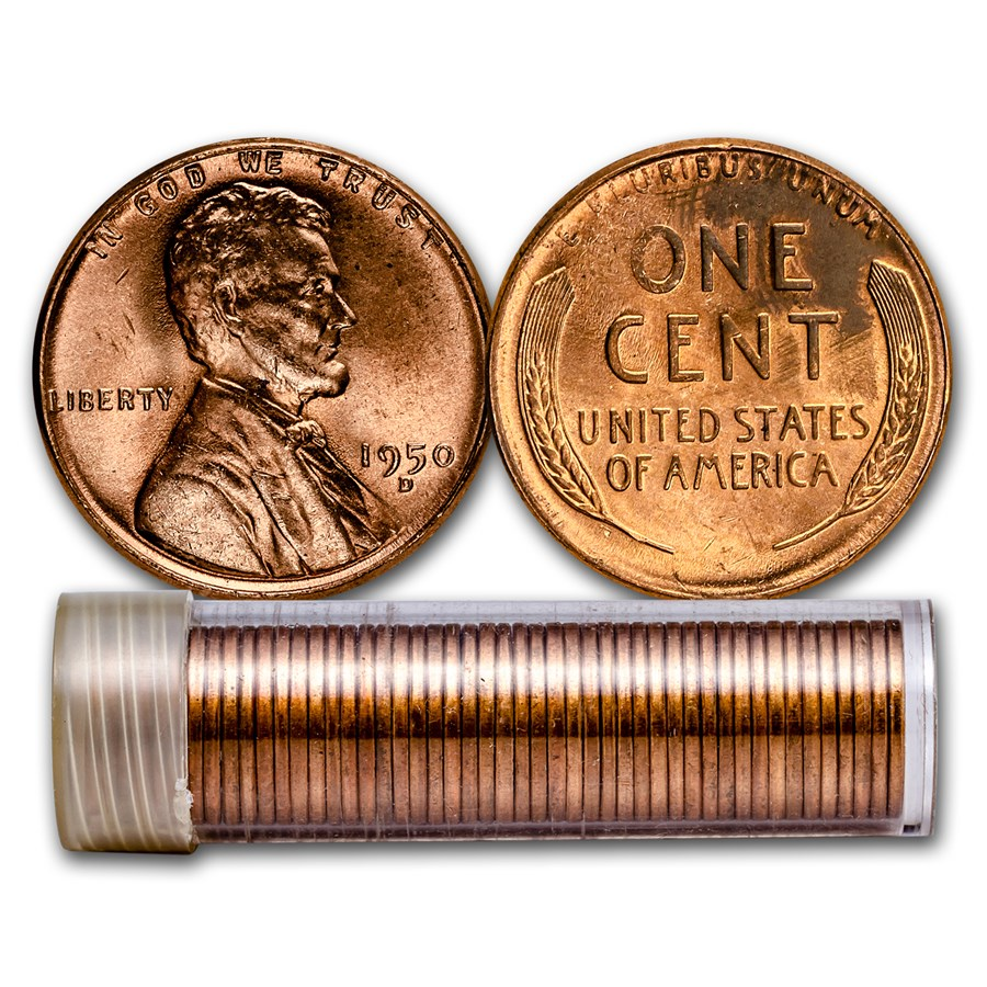 1950-D Lincoln Cent 50-Coin Roll BU