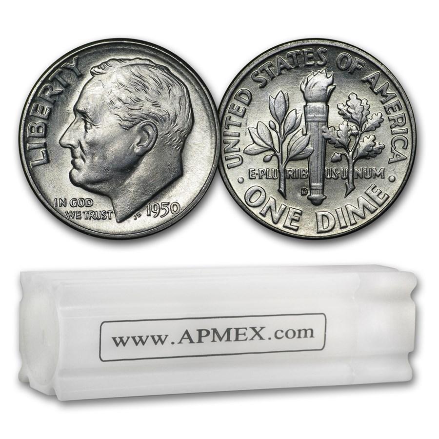 1950-D Roosevelt Dime 50-Coin Roll BU