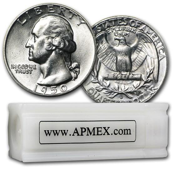 1950-D Washington Quarter 40-Coin Roll BU