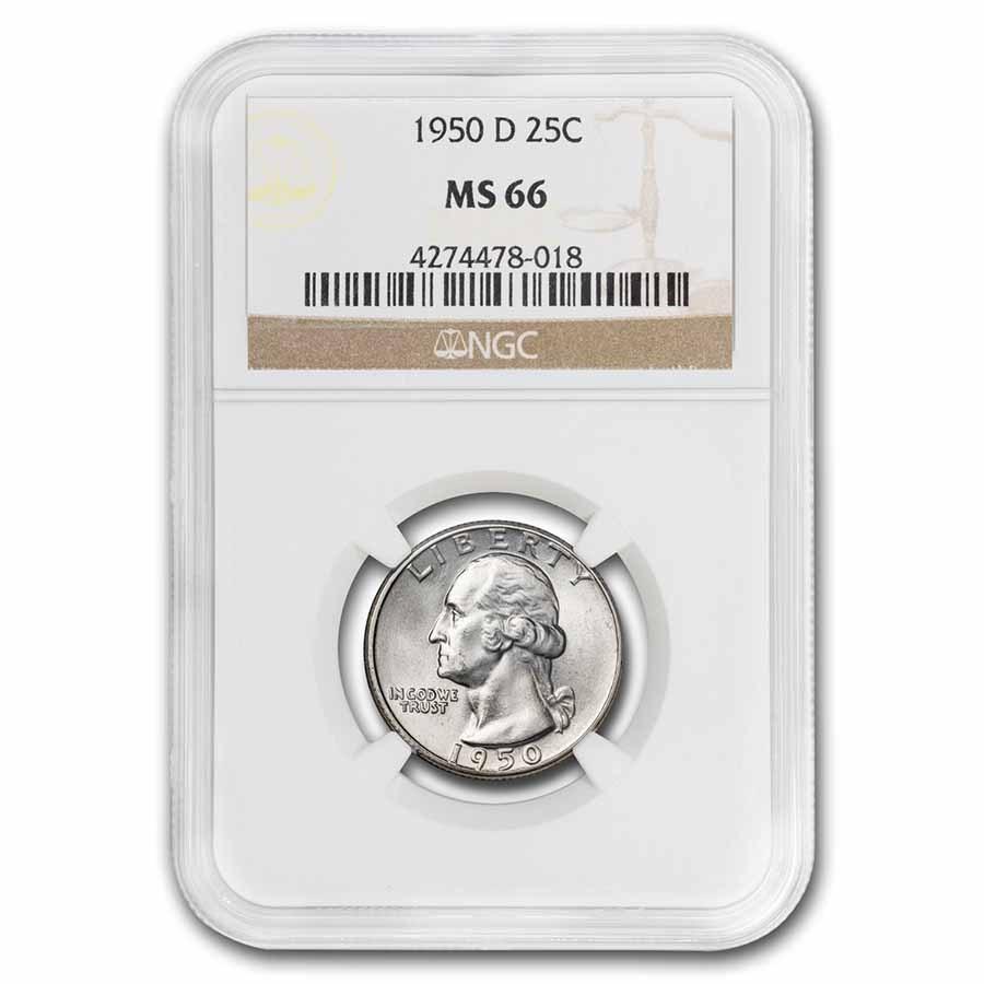 1950-D Washington Quarter MS-66 NGC