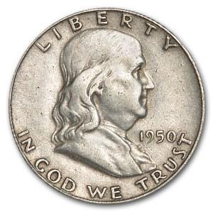 1950 Franklin Half Dollar Fine/XF