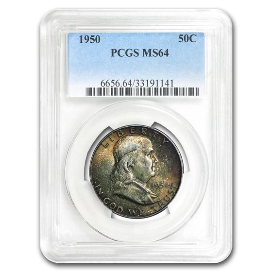 1950 Franklin Half Dollar MS-64 PCGS (Mint Set Toning)