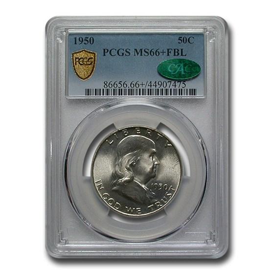 1950 Franklin Half Dollar MS-66+ PCGS CAC (FBL)