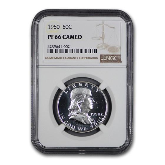 1950 Franklin Half Dollar PF-66 Cameo NGC