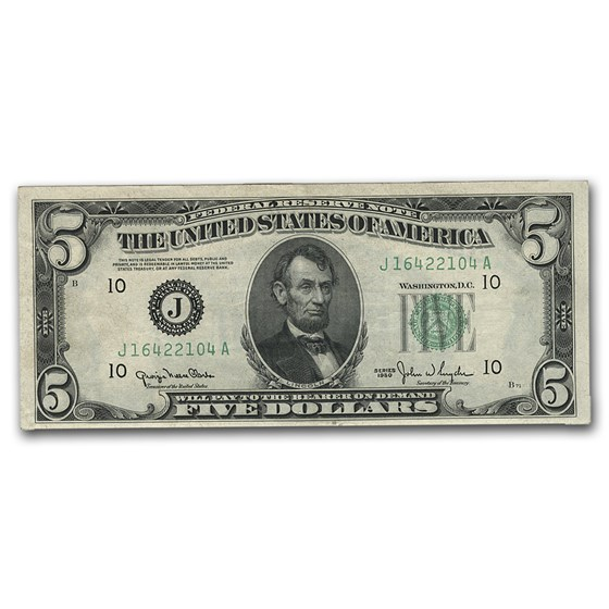 1950 (J-Kansas City) $5.00 FRN CU (Wide Seal)