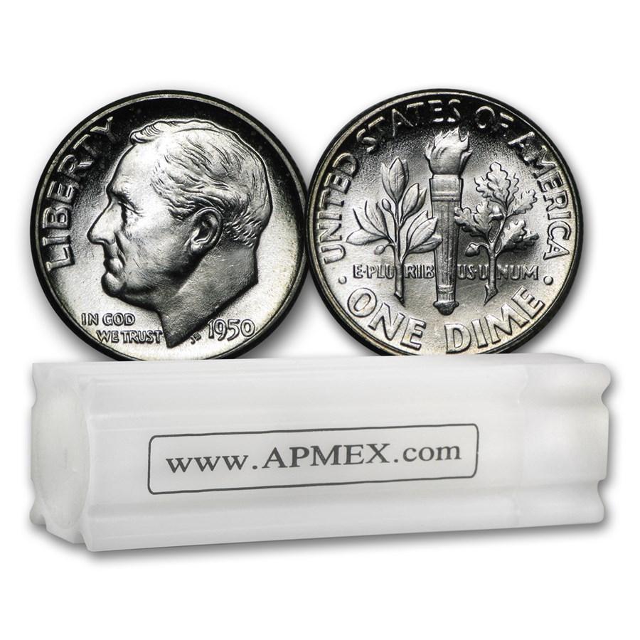 1950-P Roosevelt Dime 50-Coin Roll BU