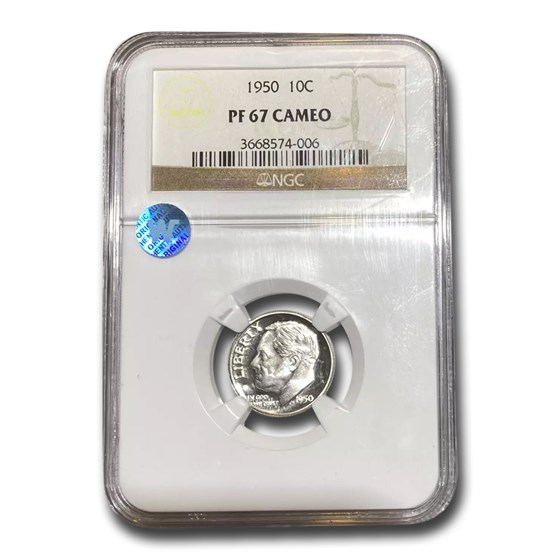 1950 Roosevelt Dime PF-67 Cameo NGC
