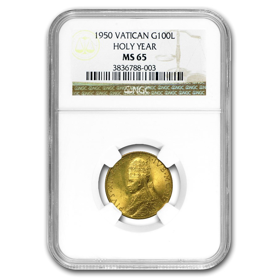 1950 Vatican City Gold 100 Lire Pope Pius XII MS-65 NGC