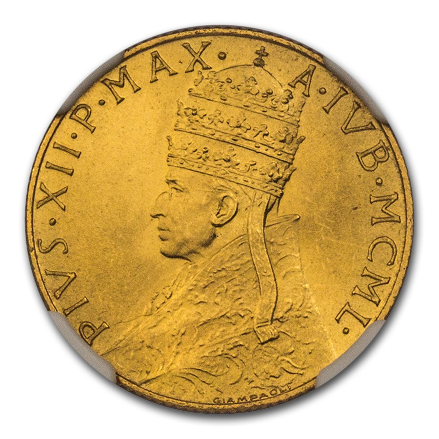 1950 Vatican City Gold 100 Lire Pope Pius XII MS-66 NGC