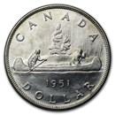 1951 Canada Silver Dollar George VI AU